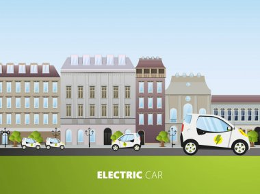 template of brochure with electrocars vehicles