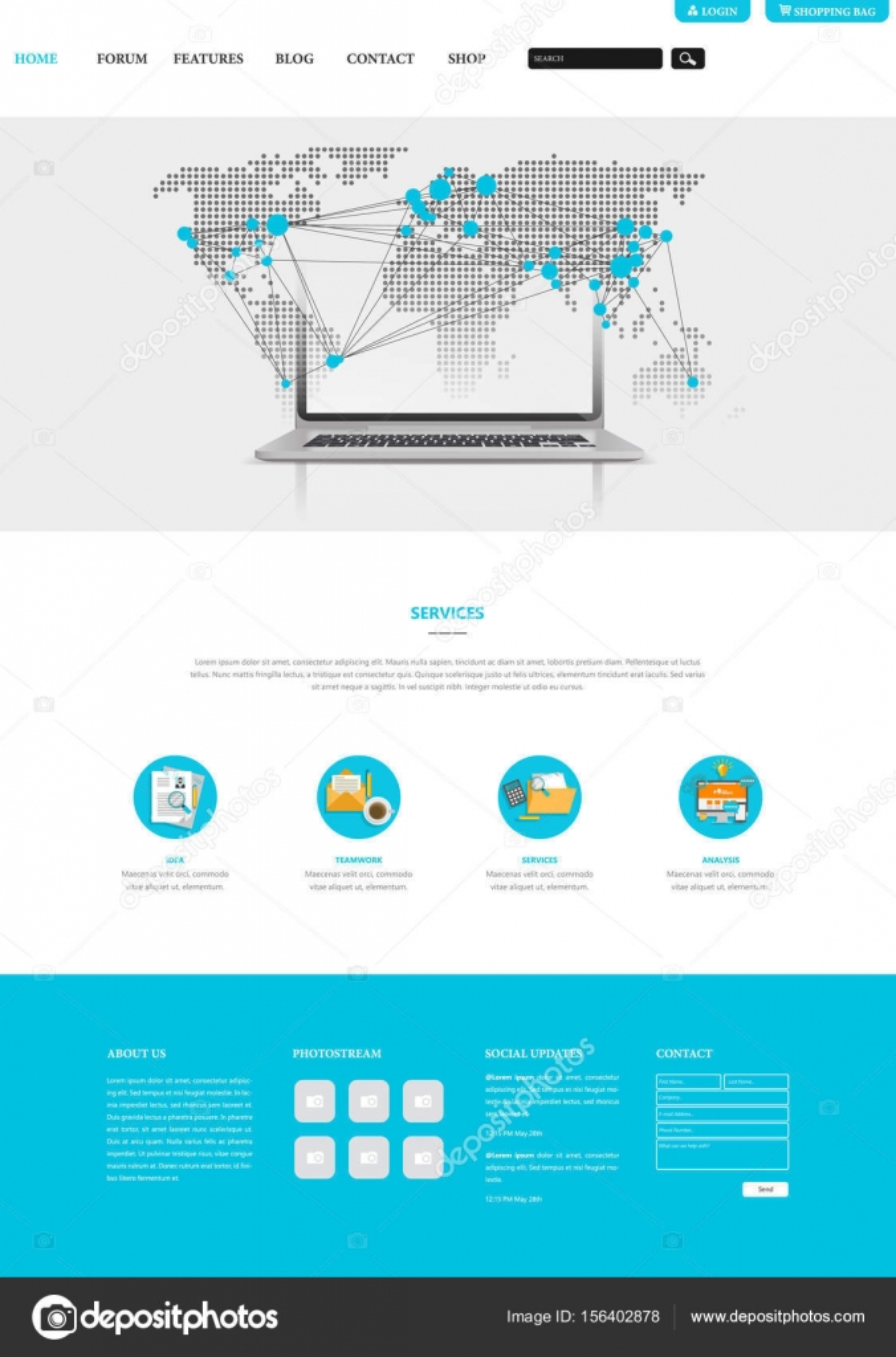 Web-Interface-Vorlage mit Earth-Karte — Stockvektor © Droidworker ...