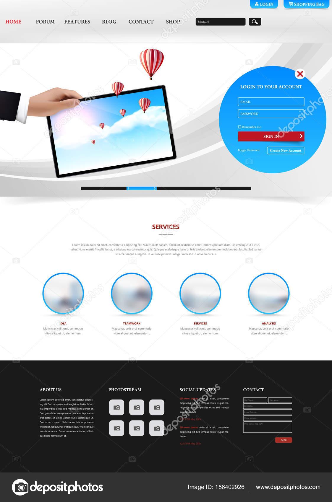 Saubere moderne Website-Schnittstelle-Vorlage — Stockvektor ...