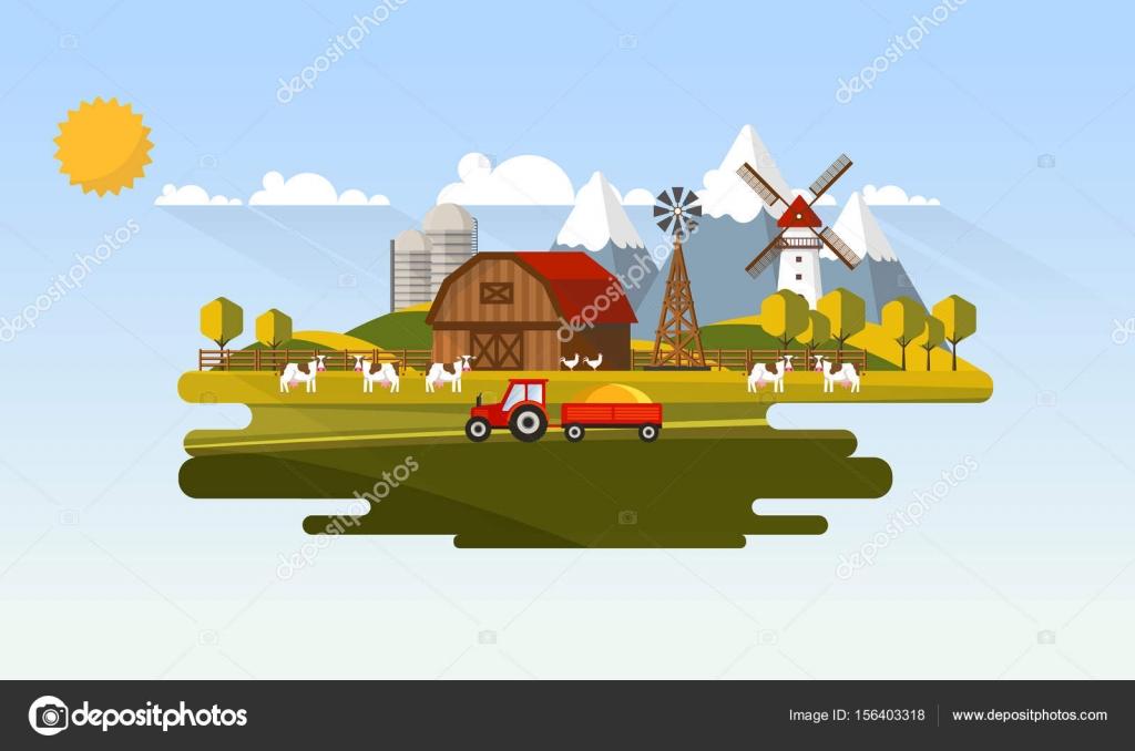 paysage rural agricole  u2014 image vectorielle droidworker