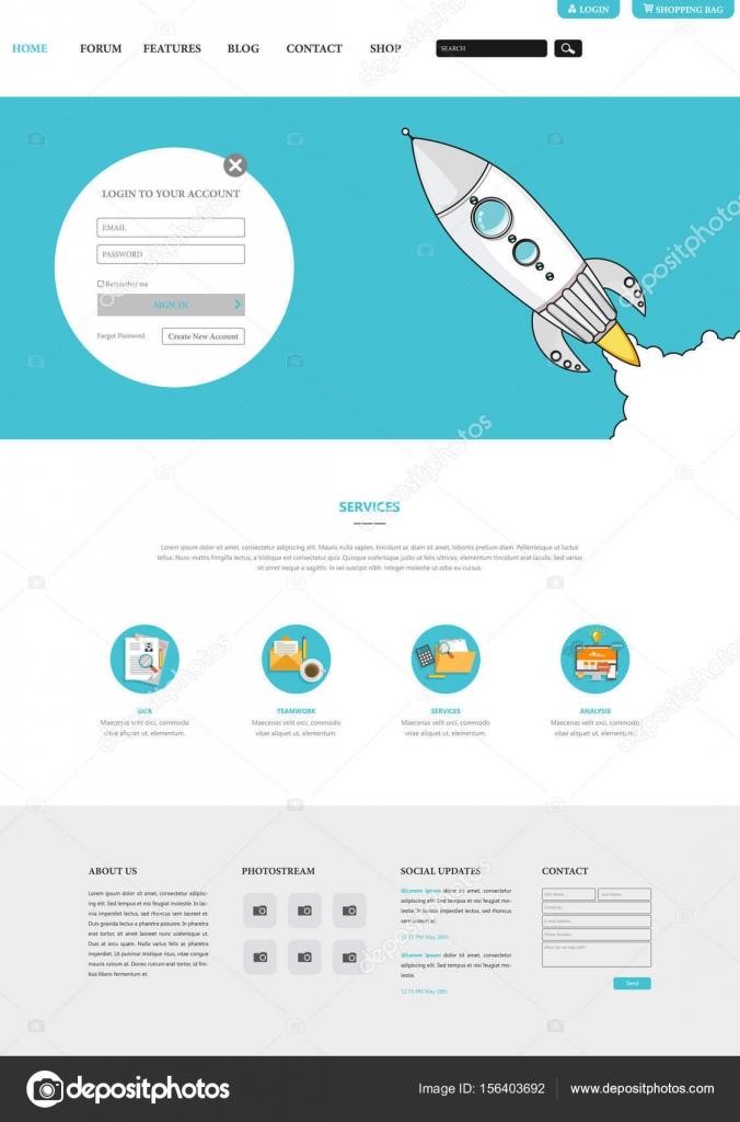 flaches Design-Stil-Website-Templates — Stockvektor © Droidworker ...