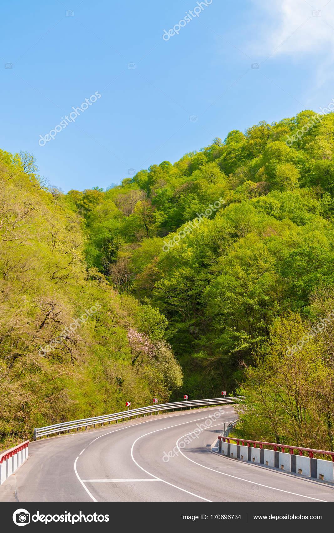 bfa6a459115 Serpentinou obrací na pozadí hor s houští v jasné letní den — Fotografie od  drverner