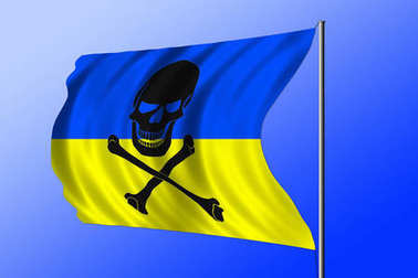 Waving pirate flag combined with Ukrainian flag