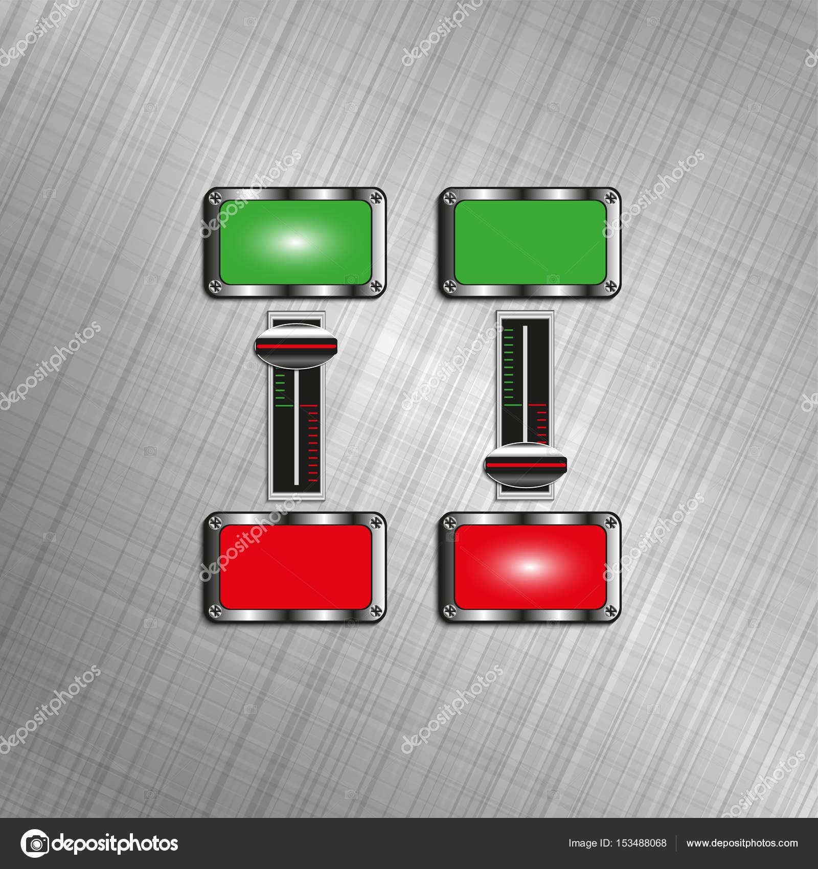 Elektrische Schalter mit Kontrollleuchten. Vektor-illustration ...