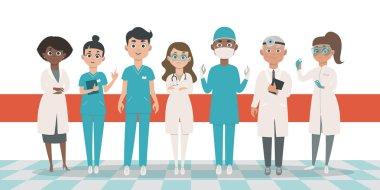 Doctors team vector illustration. Flat cartoon style characters.