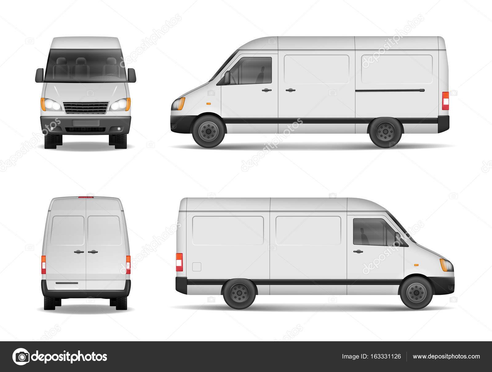 Isolierte gewerbliche Lieferung Fahrzeug gesetzt. Weißer Lieferwagen ...