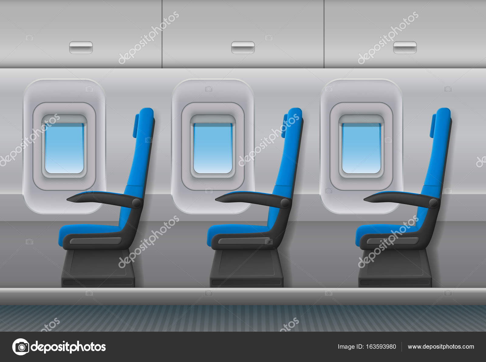 Passenger Airplane Vector Interior. Aircraft Indoor Cabin With Portholes  And Chairs Seats. Vector Illustration