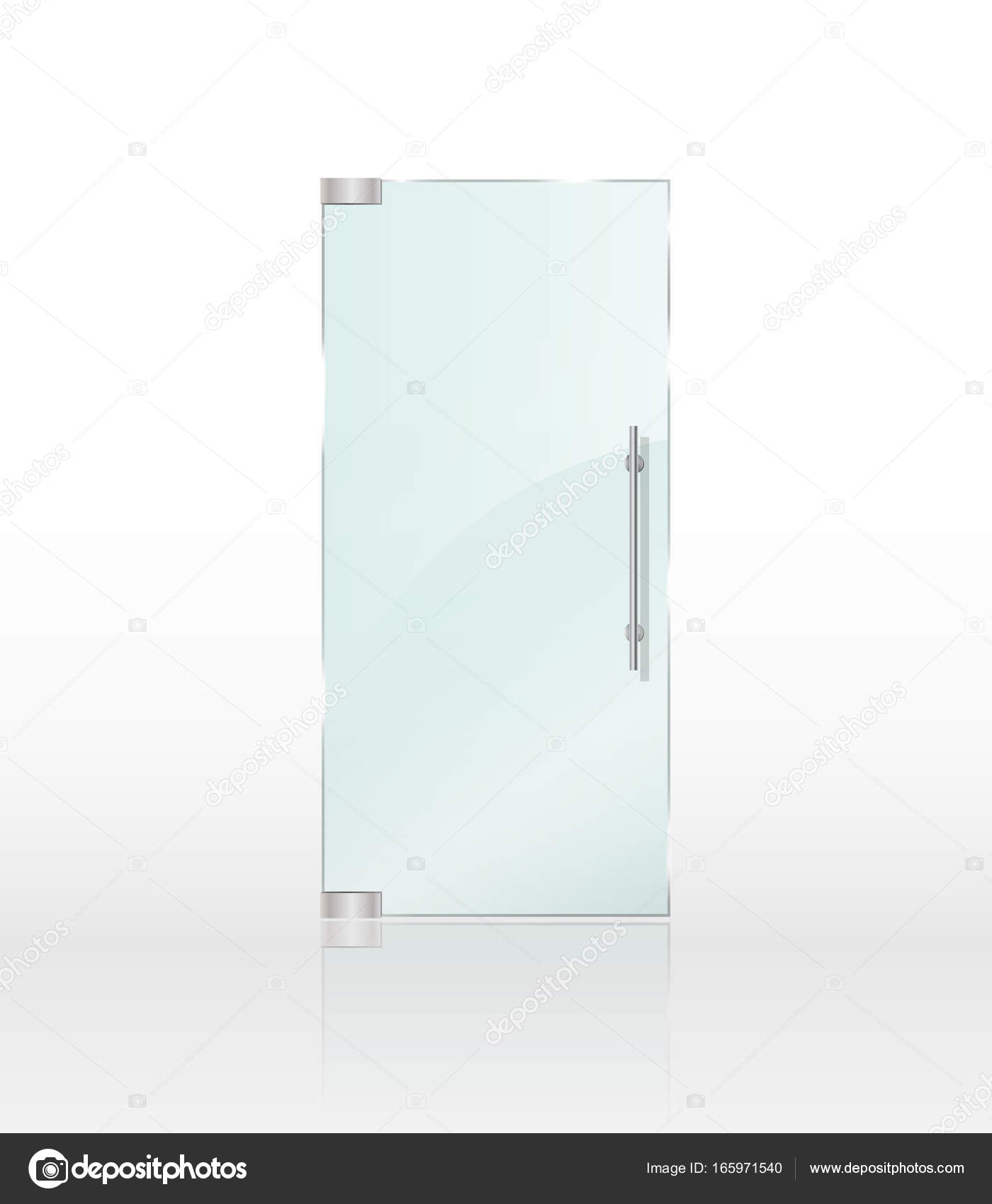 Transparent clear glass door isolated on white background. Entrance ...