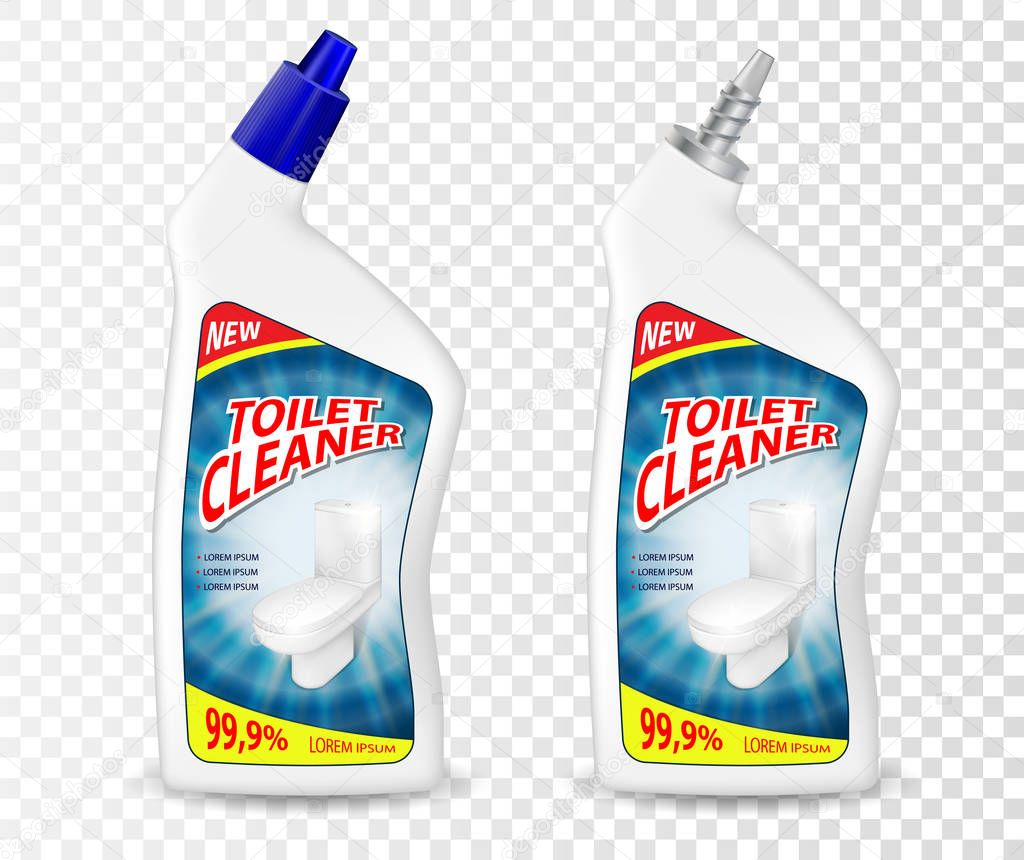 Realistic template Toilet Cleaner gel package. Plastic bottle container mockup with disinfectant liquid. Vector illustration isolated on transparent background