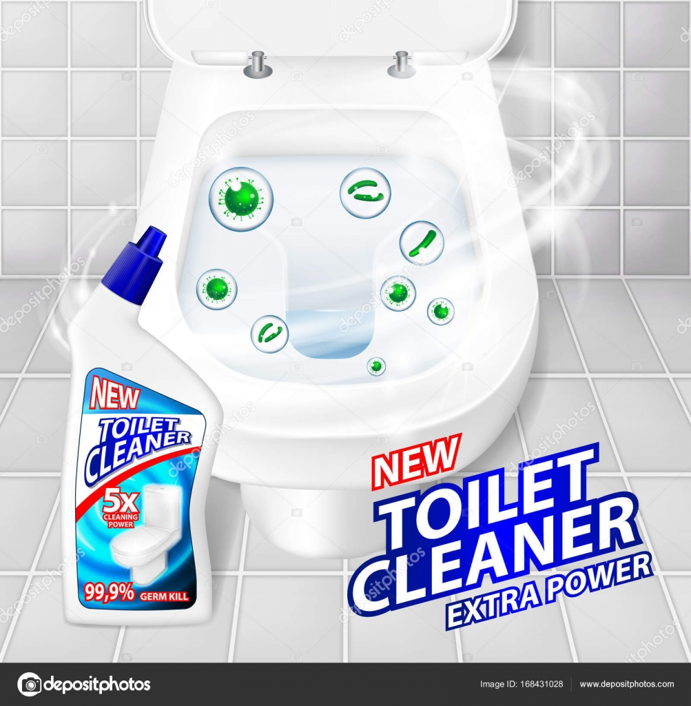 Admirable Toilet Cleaner Gel Banner Ads Realistic Clean Shiny Toilet Pdpeps Interior Chair Design Pdpepsorg