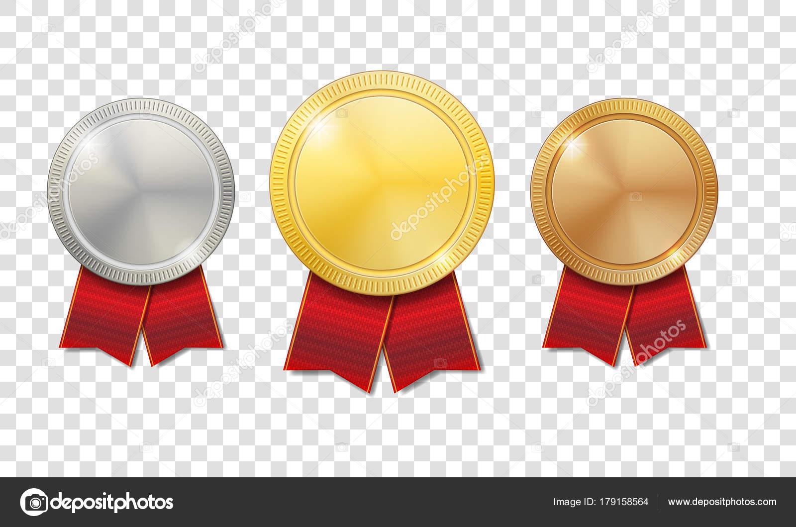Ouro, Prata E Bronze Medalhas Brilhantes Com Fitas