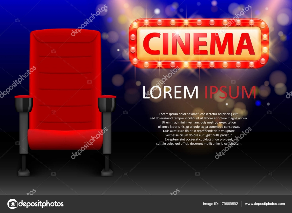 Banner Design For The Cinema Realistic Red Comfortable Seats Movie Theater Poster With Rows And Lights Vector Illustration EPS 10