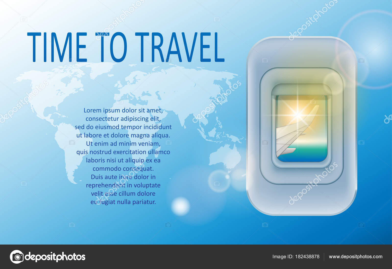 World Travel And Tourism Concept Banner Of A Plane Portholes In Theme Agency Advertisement Airplane Poster Design