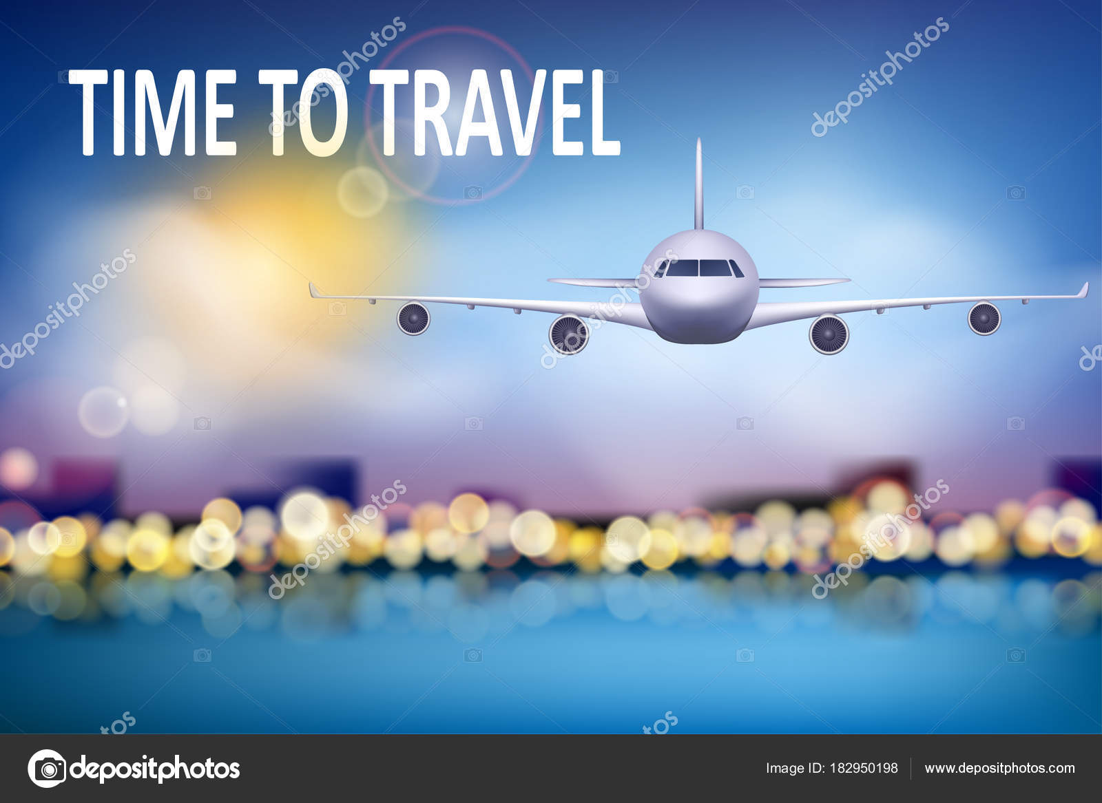 Summer Travel Illustration With Airplane On Blue Sunny Background Soft Bokeh And Clouds Brochure In Tourism Theme Agency Advertisement