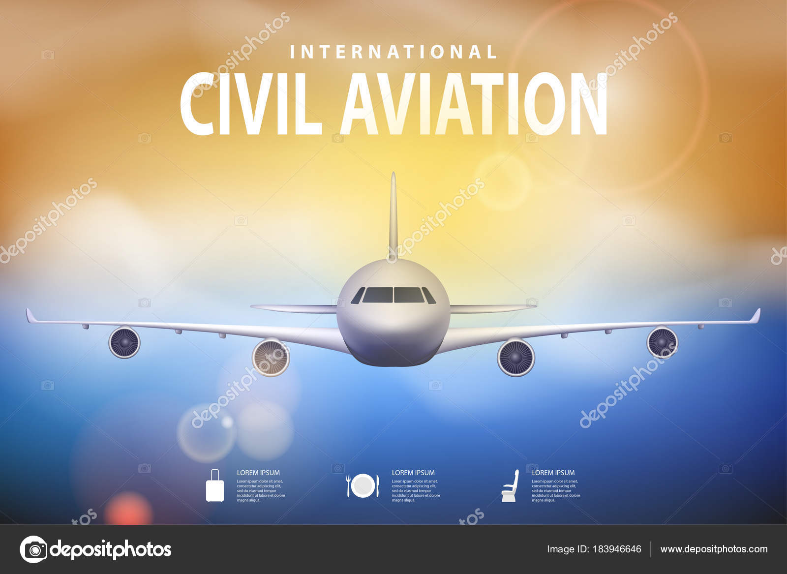 Summer Travel Illustration With Airplane On Blue Sunny Background Brochure In Tourism Theme Agency Advertisement Poster Design