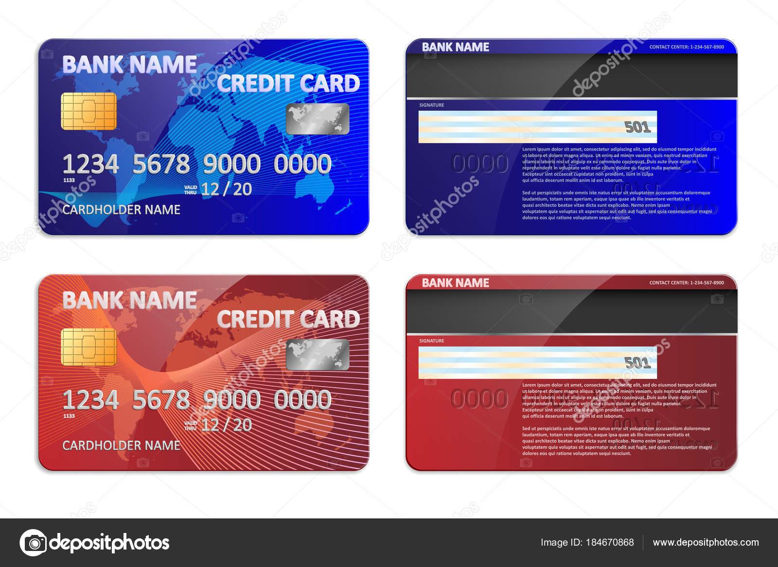 Realistische blaue und rote Bank Kreditkarte Vorlage isoliert. Bank ...