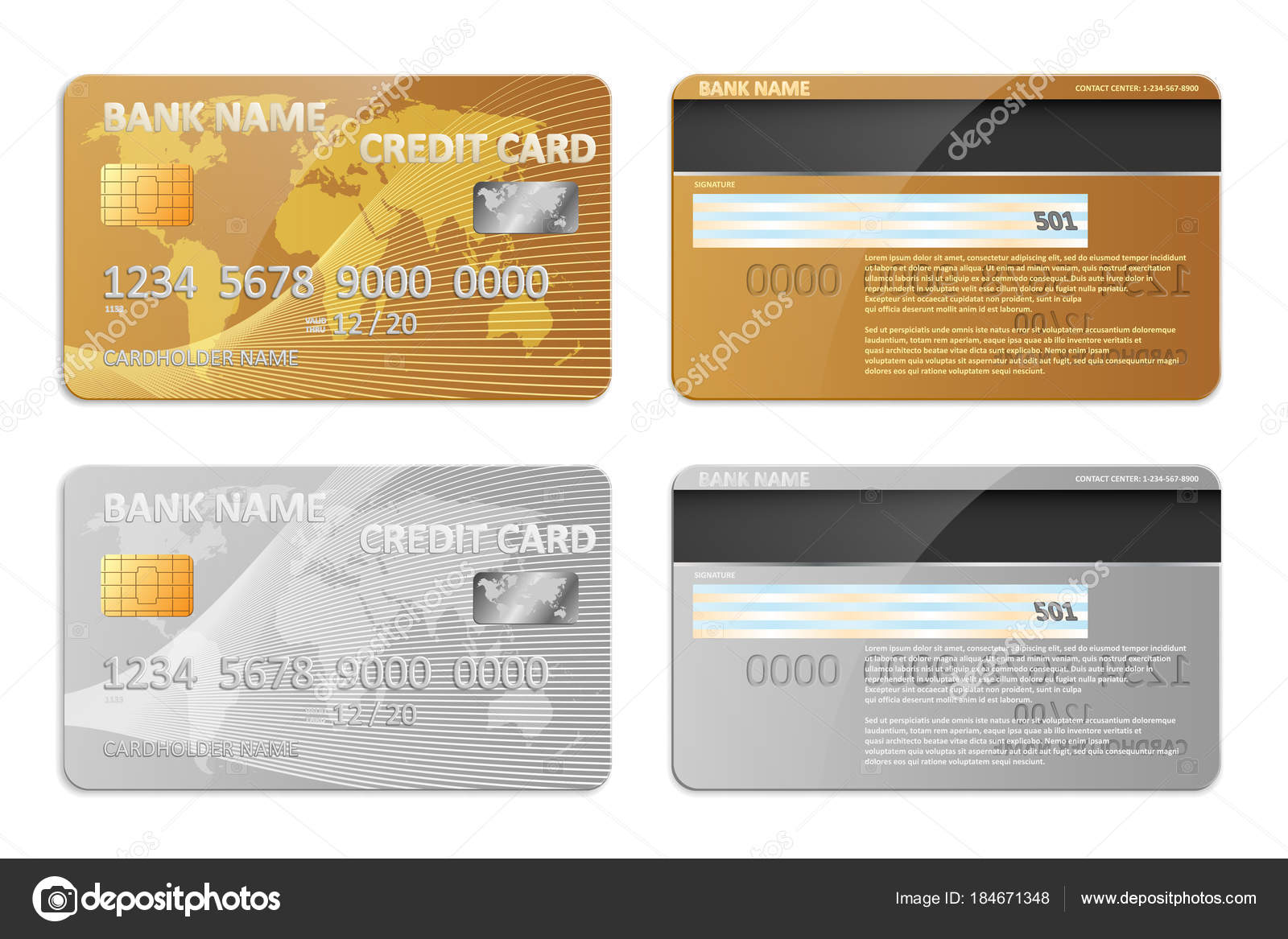 Realistic gold and silver bank credit card template isolated. Bank ...