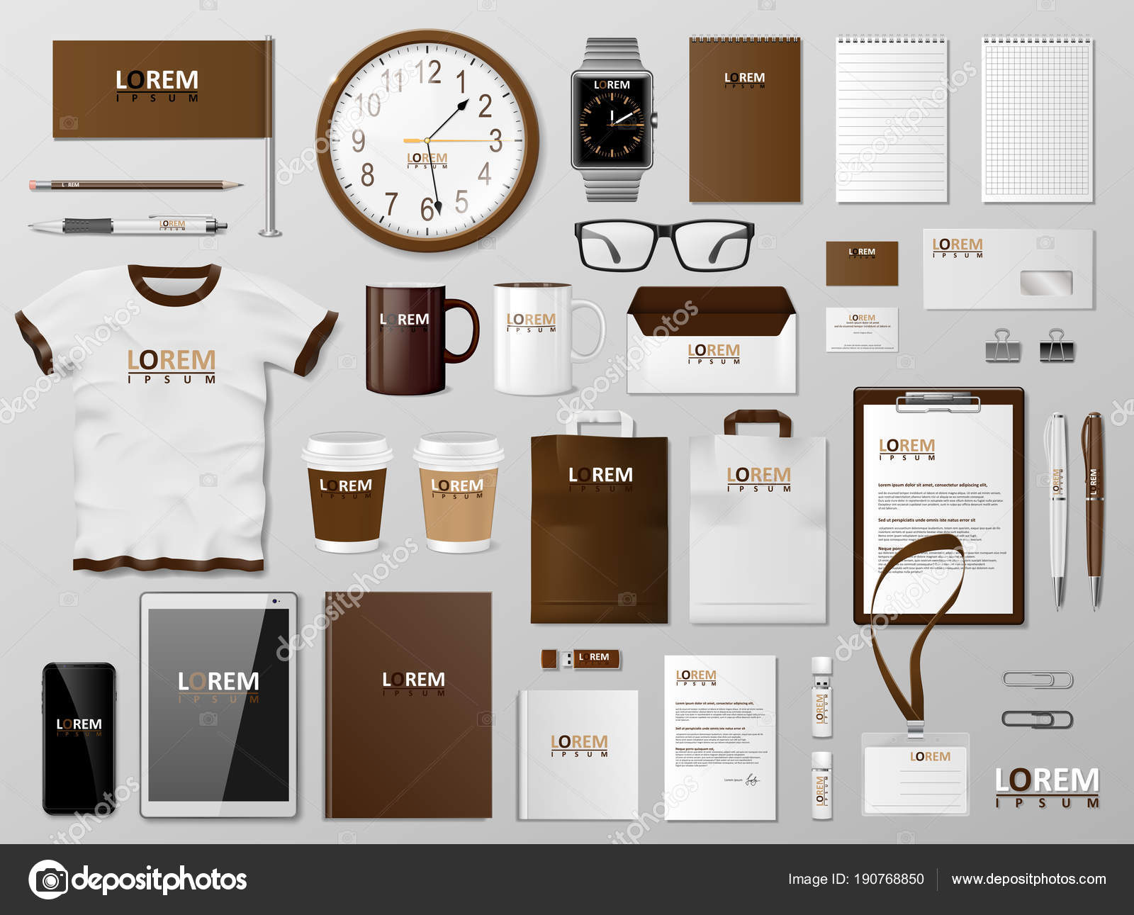 Branding Template | Corporate Branding Identity Template Brown Design Modern Realistic