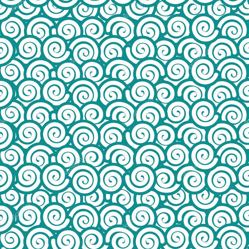 Japanische Musterdesign zeitgenössischen Stil. Spirale auf blauen ...