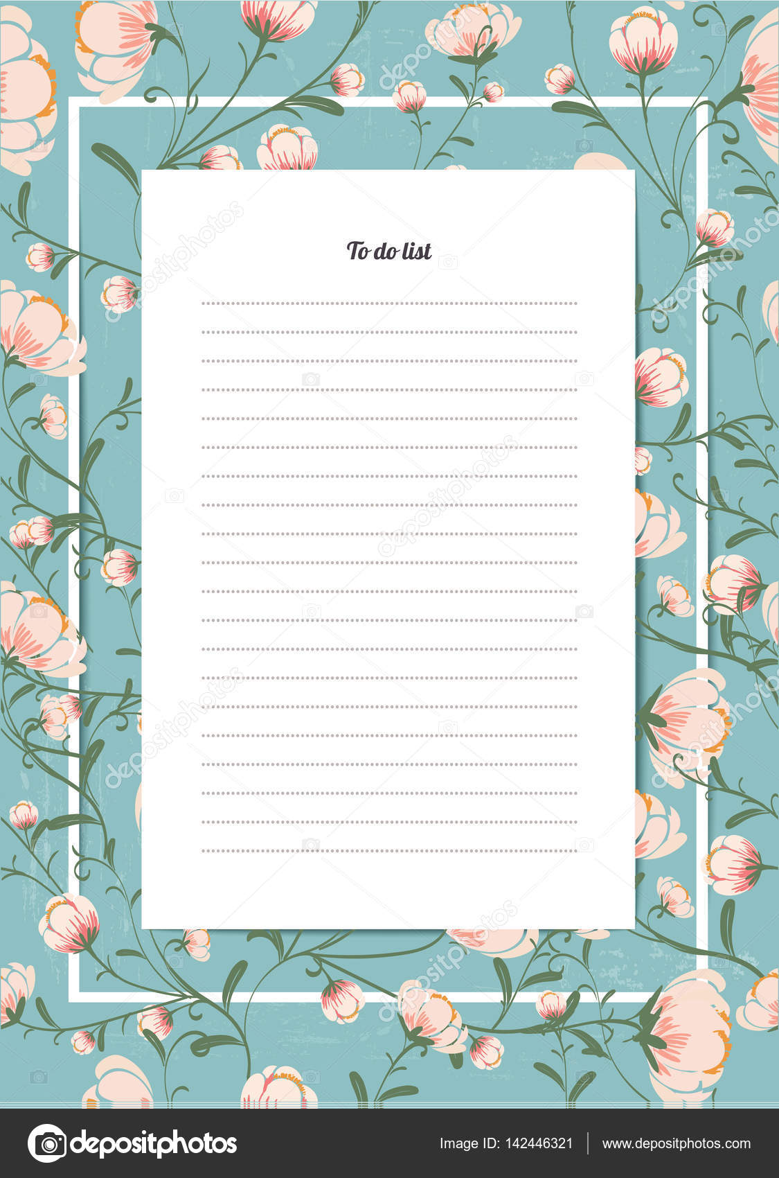 flowers poster template to do list with a bouquet of blossoms