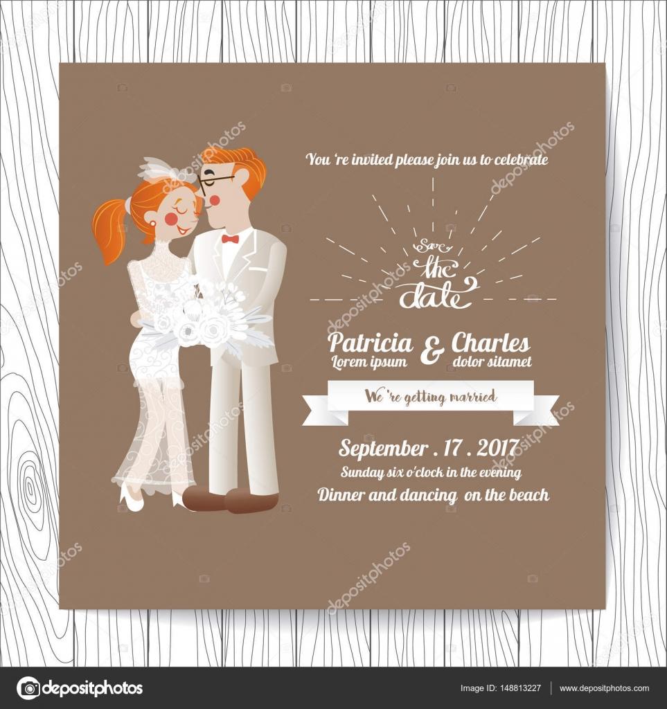 Plantillas de la tarjeta de invitación de boda, novia del personaje ...