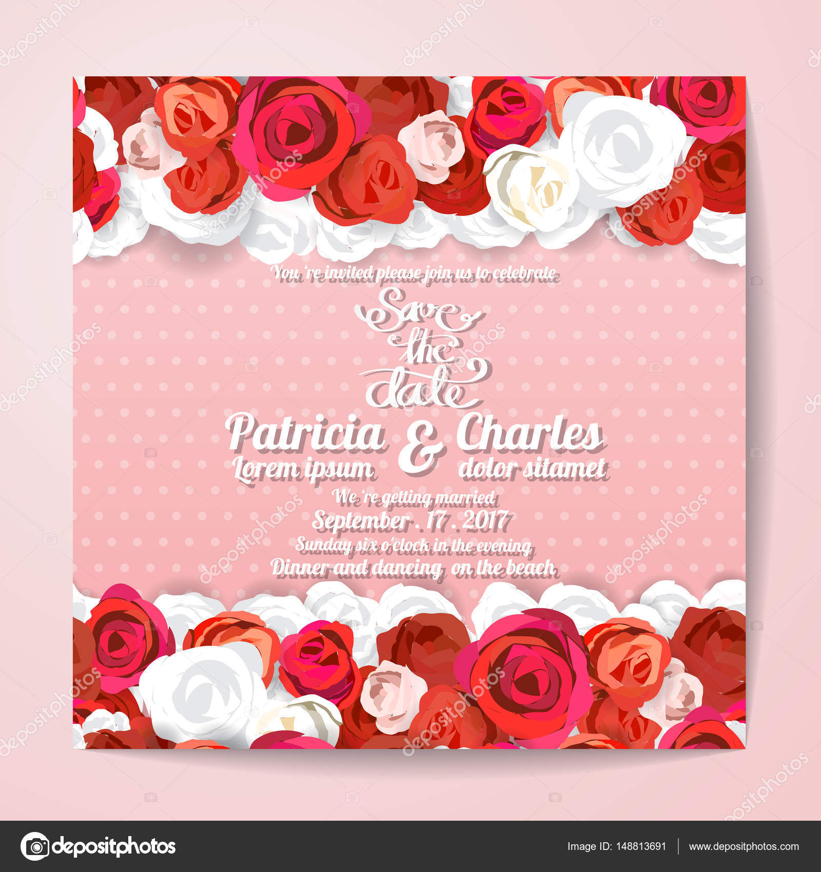 Wedding invitation card templates, Flower rose blossom on pink d ...