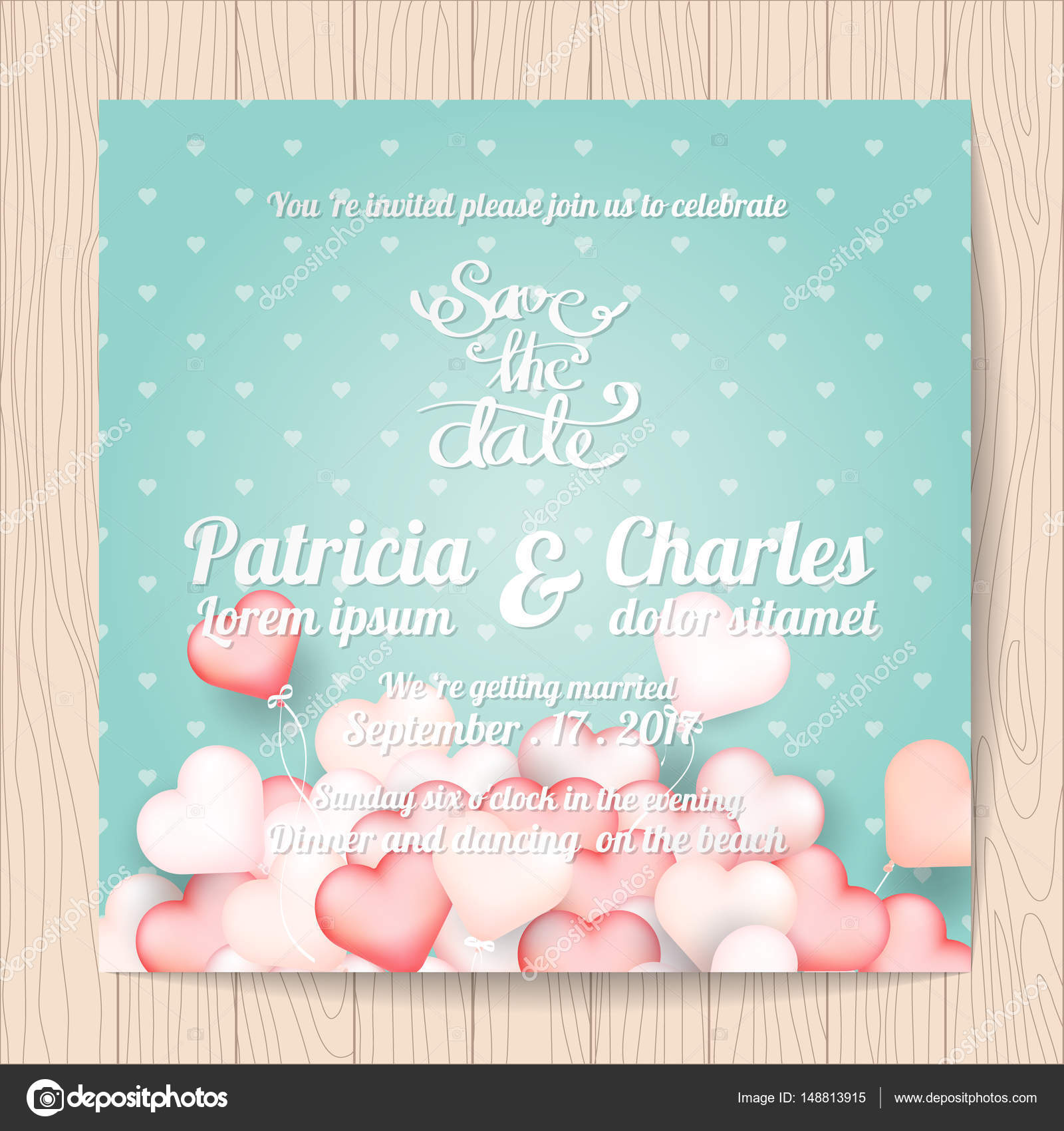 Wedding invitation card templates Sweet heart balloon backgroun