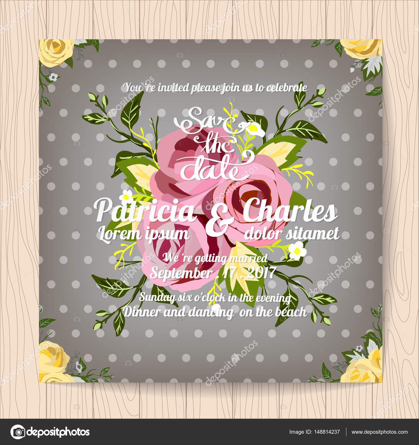 Hochzeit Einladung Kartenvorlagen, Vintage Blume Blüte backgr ...