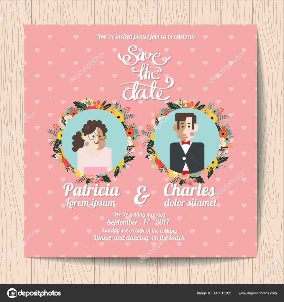 Wedding Invitation Card Templates Cartoon Character Bride And