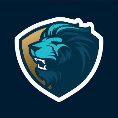 Roaring lion head mascot