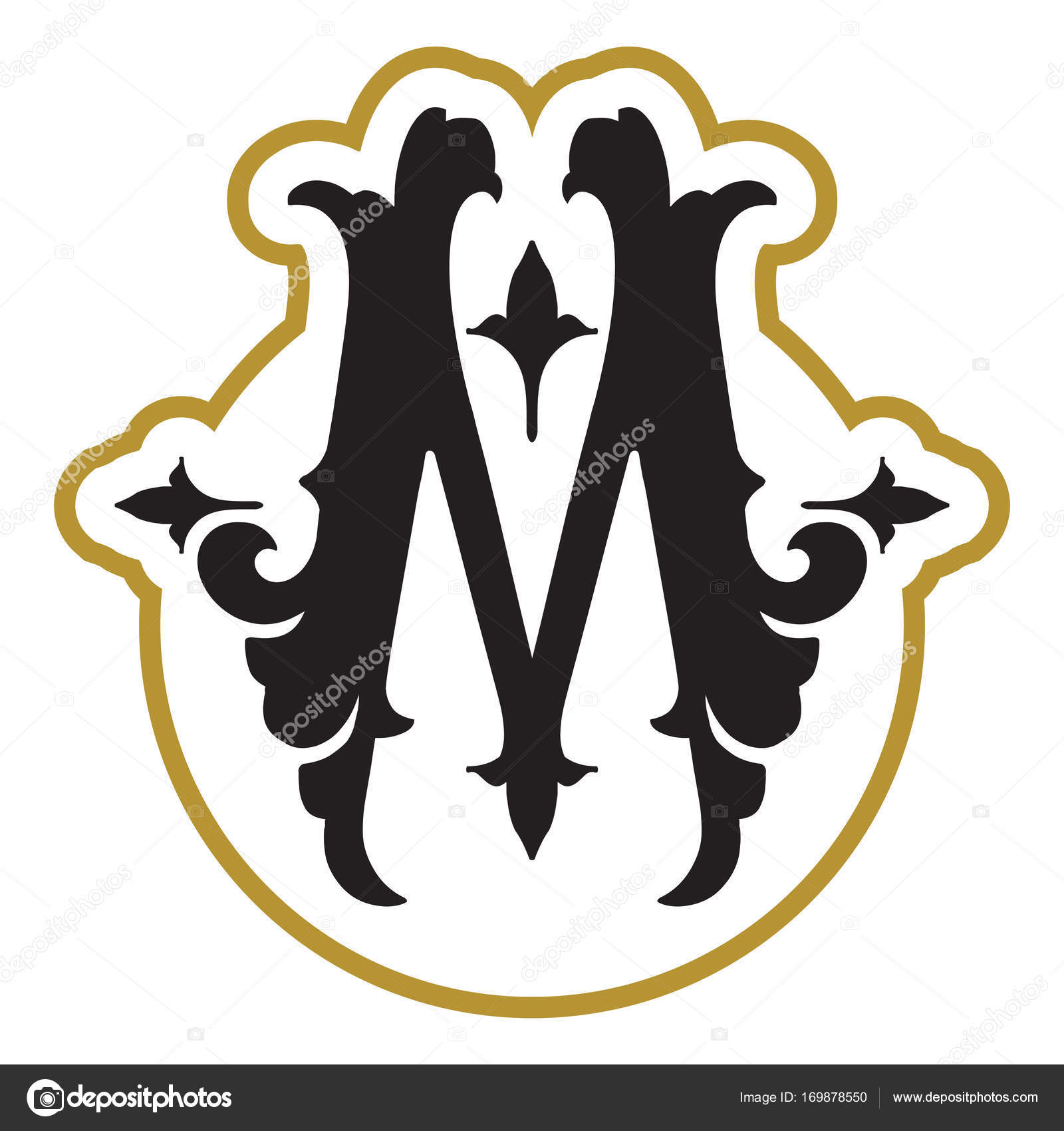 Monogram Design Template With Letter M Stock Vector