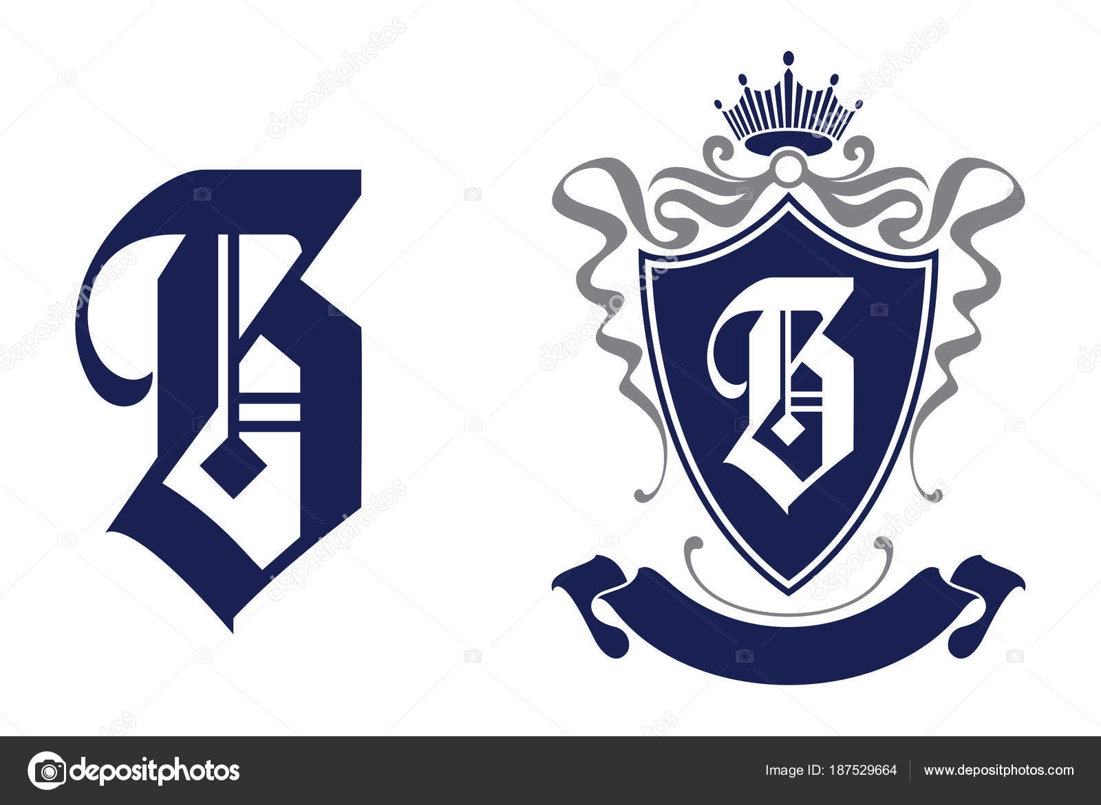 Letter Shield Crest Logo Icon Alphabet Logotype Vector Design Template Stock
