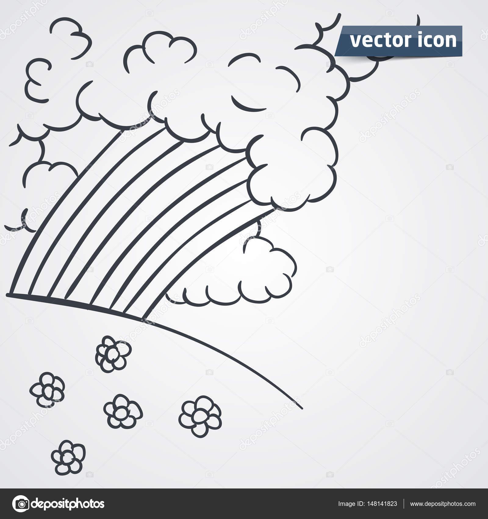 mano de arco iris dibujado vector ilustración — Archivo Imágenes ...