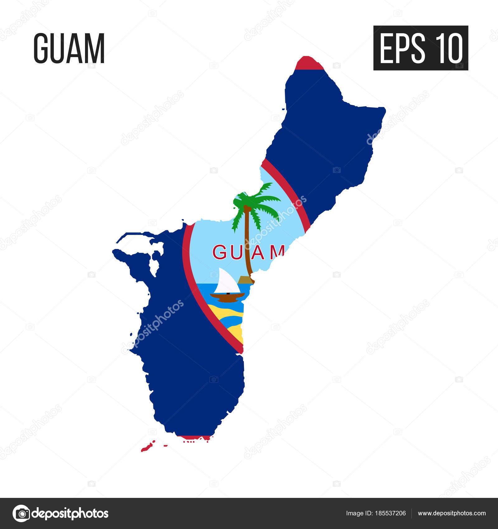 Guam Map Border Flag Vector Eps10 — Stock Vector © y6uca ...