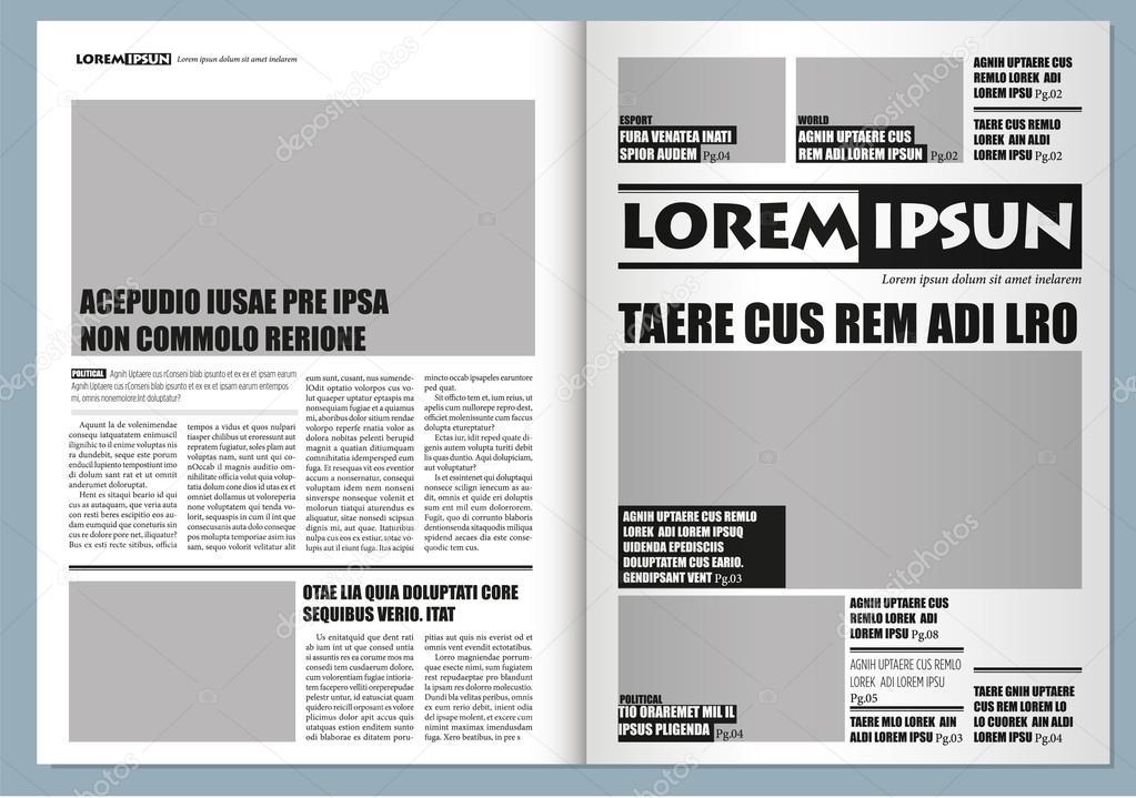 9334929a0cec Традиционный графический дизайн шаблон газеты, серого цвета и формата А3 —  Вектор от Bertolo