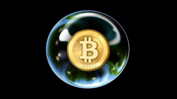 Zblízka se Bitcoin bubliny stoupá do pohledu a drží na střed obrazovky. To se netočí a nezačne chvět, potenciálně asi praskla jako předzvěst kryptoměn altcoin spekulace bubliny