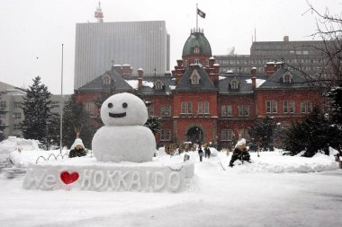 snowman and building in hokkaido