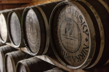 Closeup of barrels with whisky