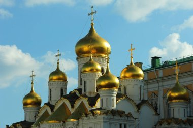 Low angle shot of Annunciation Cathedral Moscow Kremlin