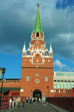 Low angle shot of Kytafya Tower and Trinity Tower Moscow Kremlin