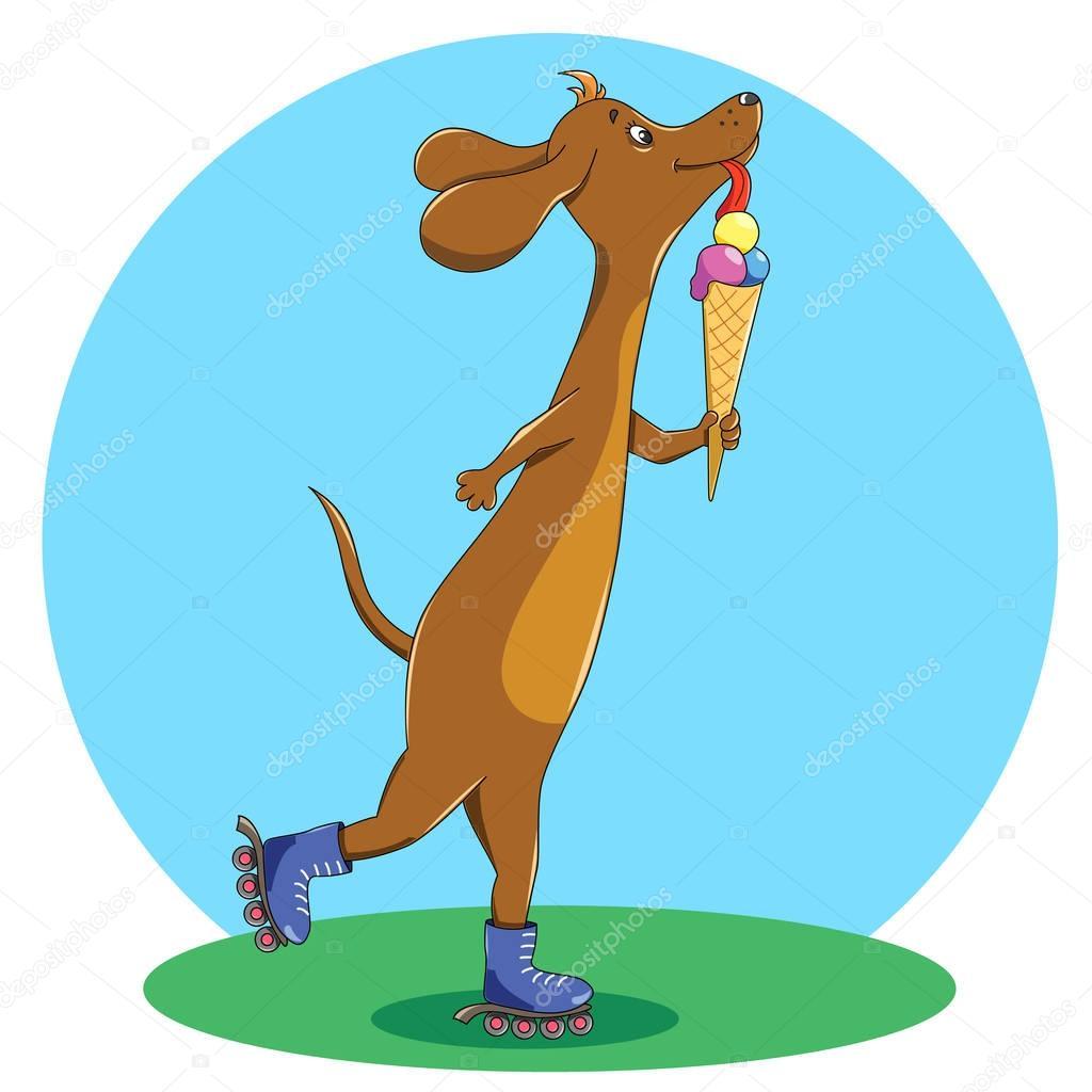 Смешная картинка вход собаке с мороженным и на роликах запрещен