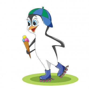 Funny penguin on rollers in a baseball cap on his head and with