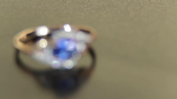 Beautiful Engagement Female Gold Ring Precious Stones Blue
