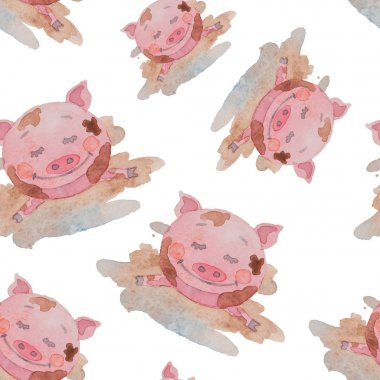 Seamless pattern happy piggy drawn watercolor lies in a dirty pu