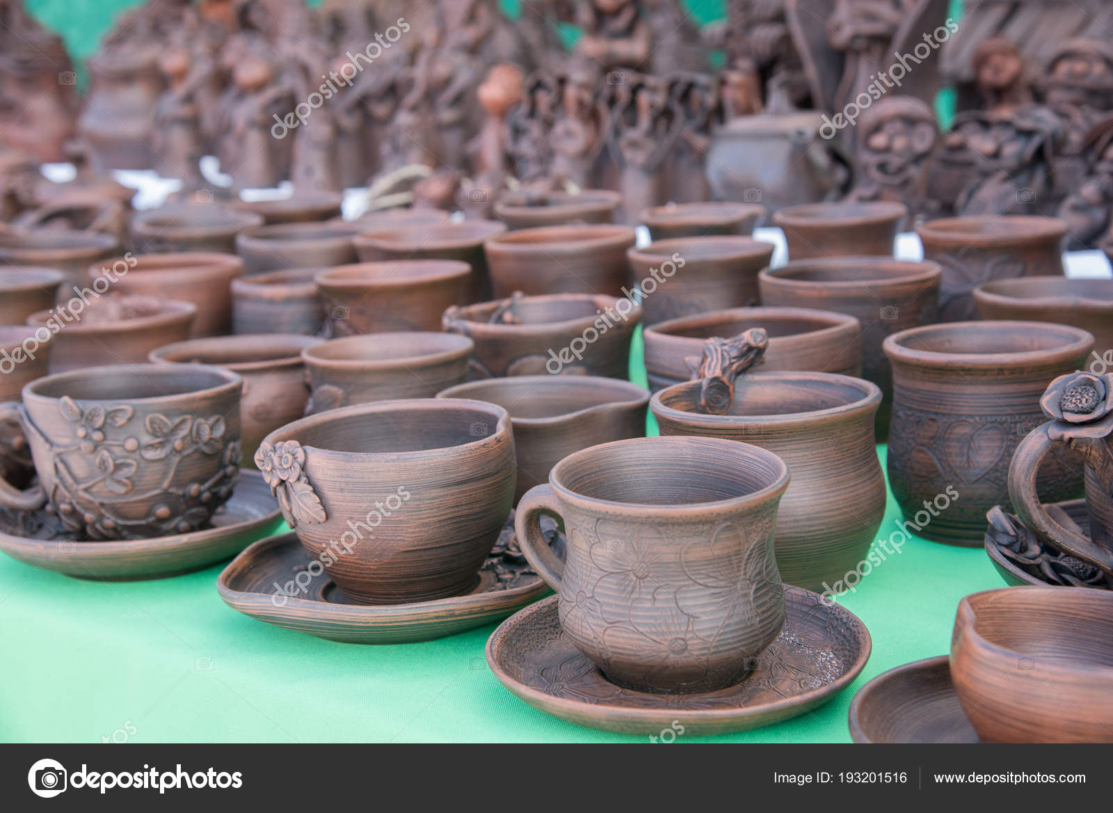 Beautiful Pottery Mugs Of Brown Color Handmade On The Market Stock Photo C Vox19 193201516