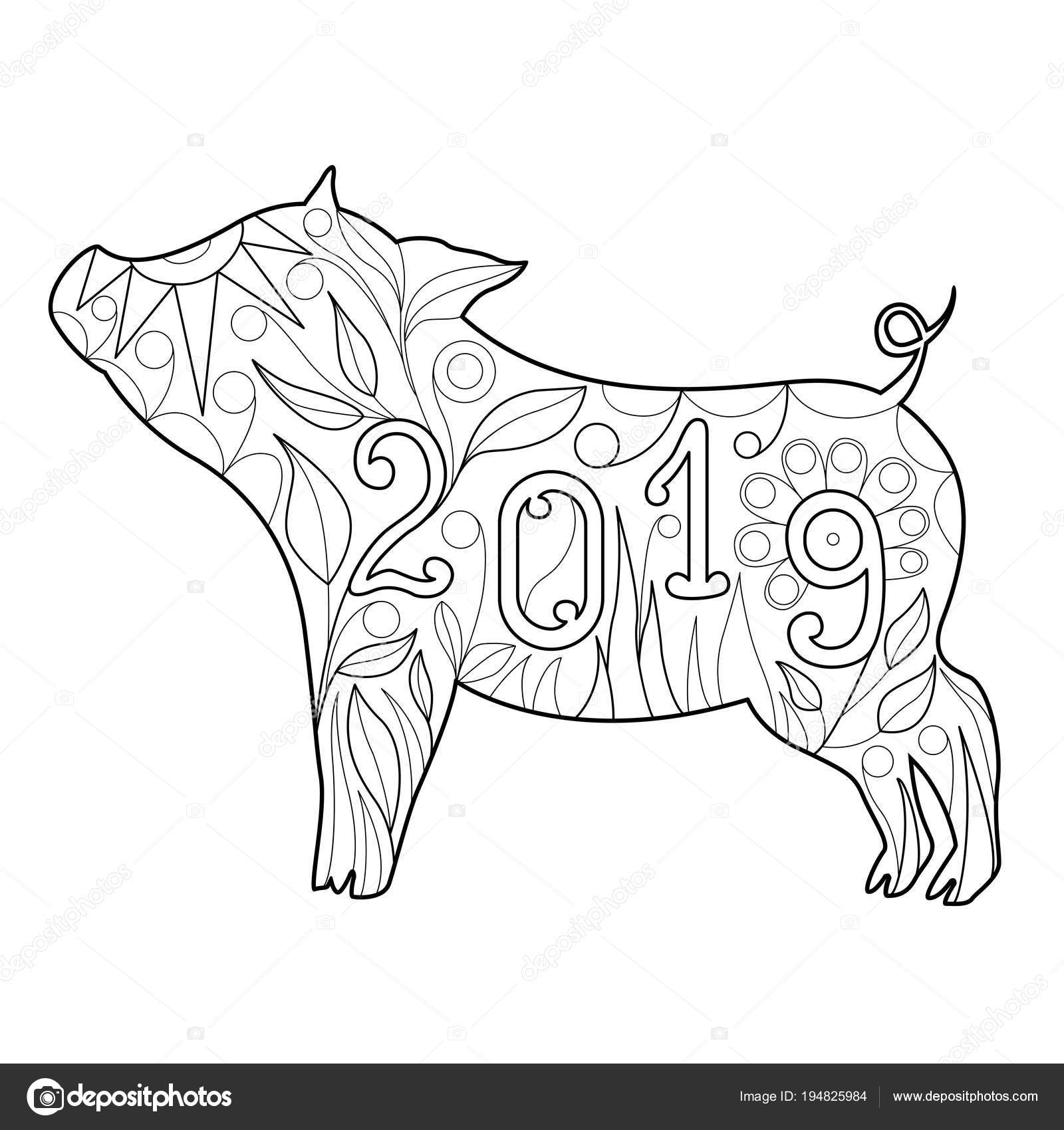 Year of the pig 2019 coloring pages ~ Hermoso doodle símbolo del cerdo año 2019 para colorear de ...