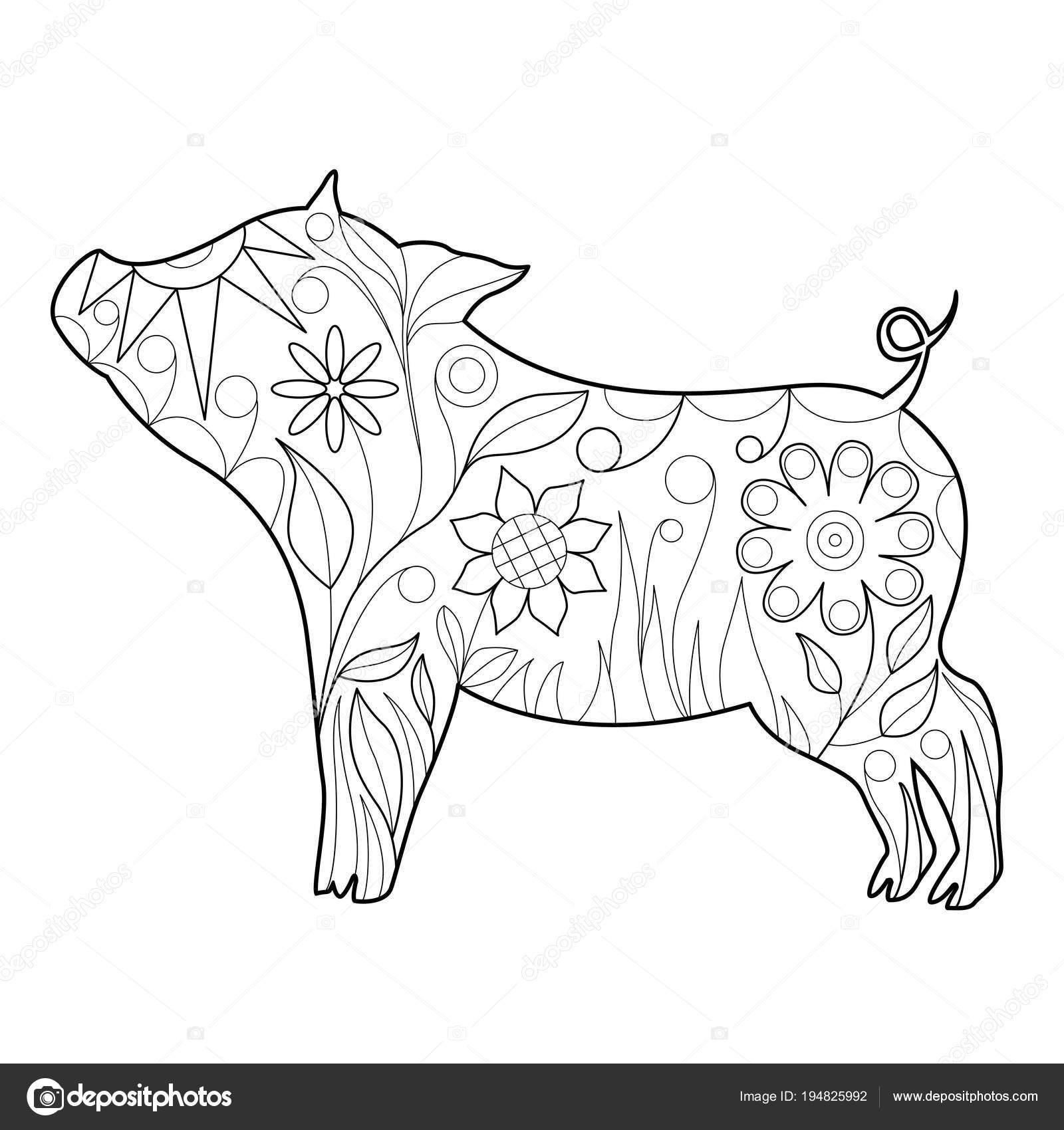 Doodle Beau Symbole Du Cochon Année 2019 à Colorier De