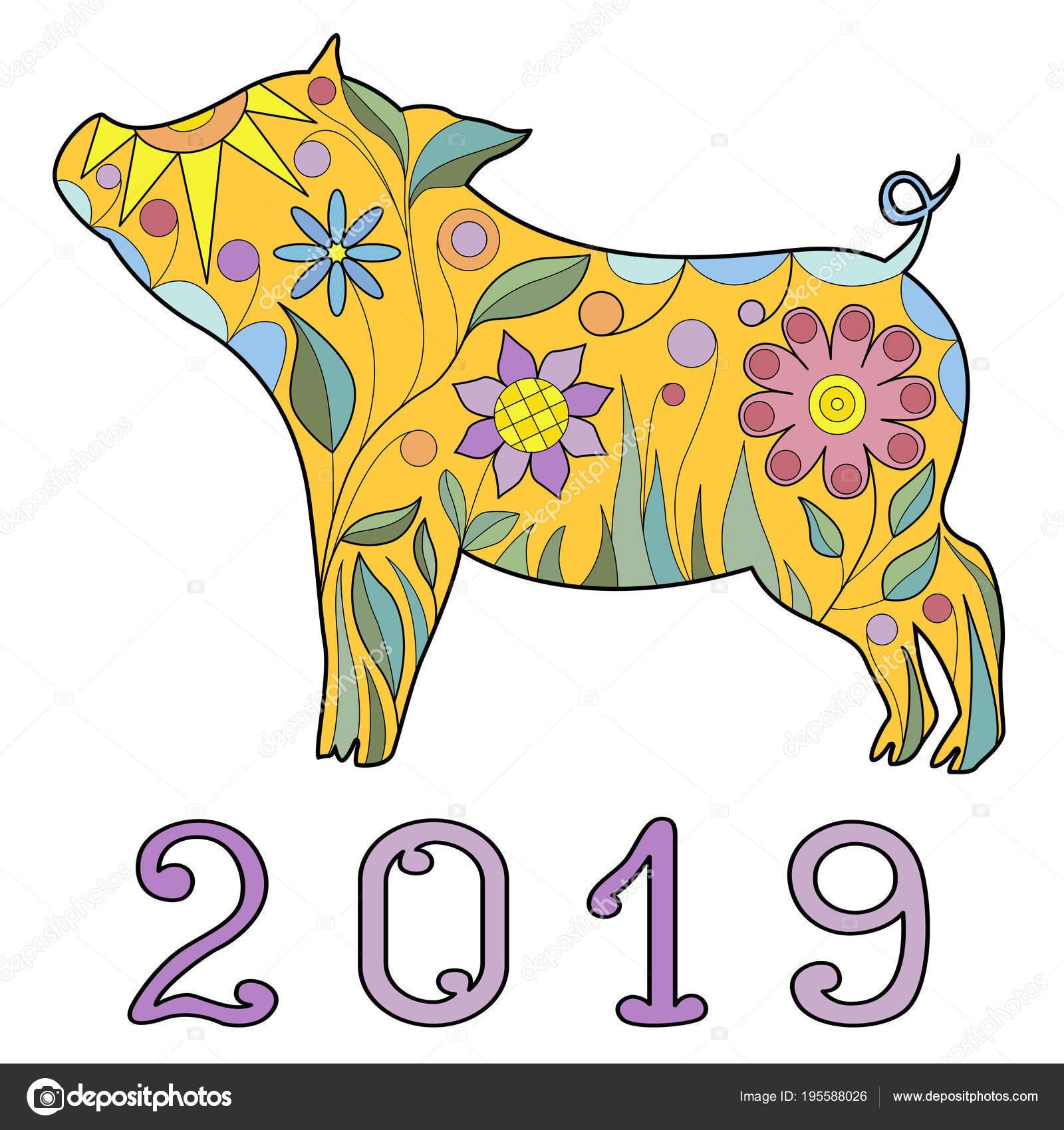 Картинки символ года 2019 Собака. Скачать и распечатать