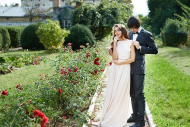Pretty bride  and bridegroom