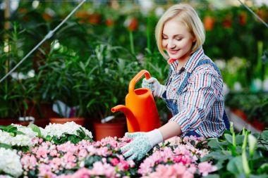 female florist watering flowers